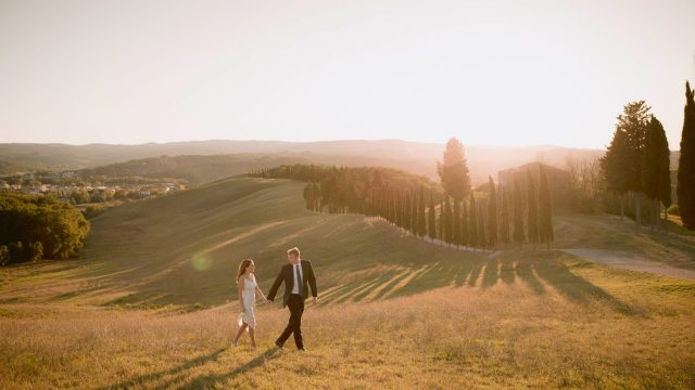 Amazing view for this engagement photo session in Certaldo
