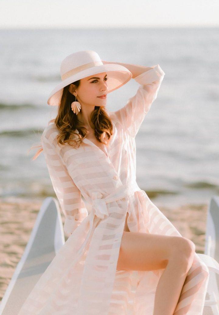 model posing on the beach