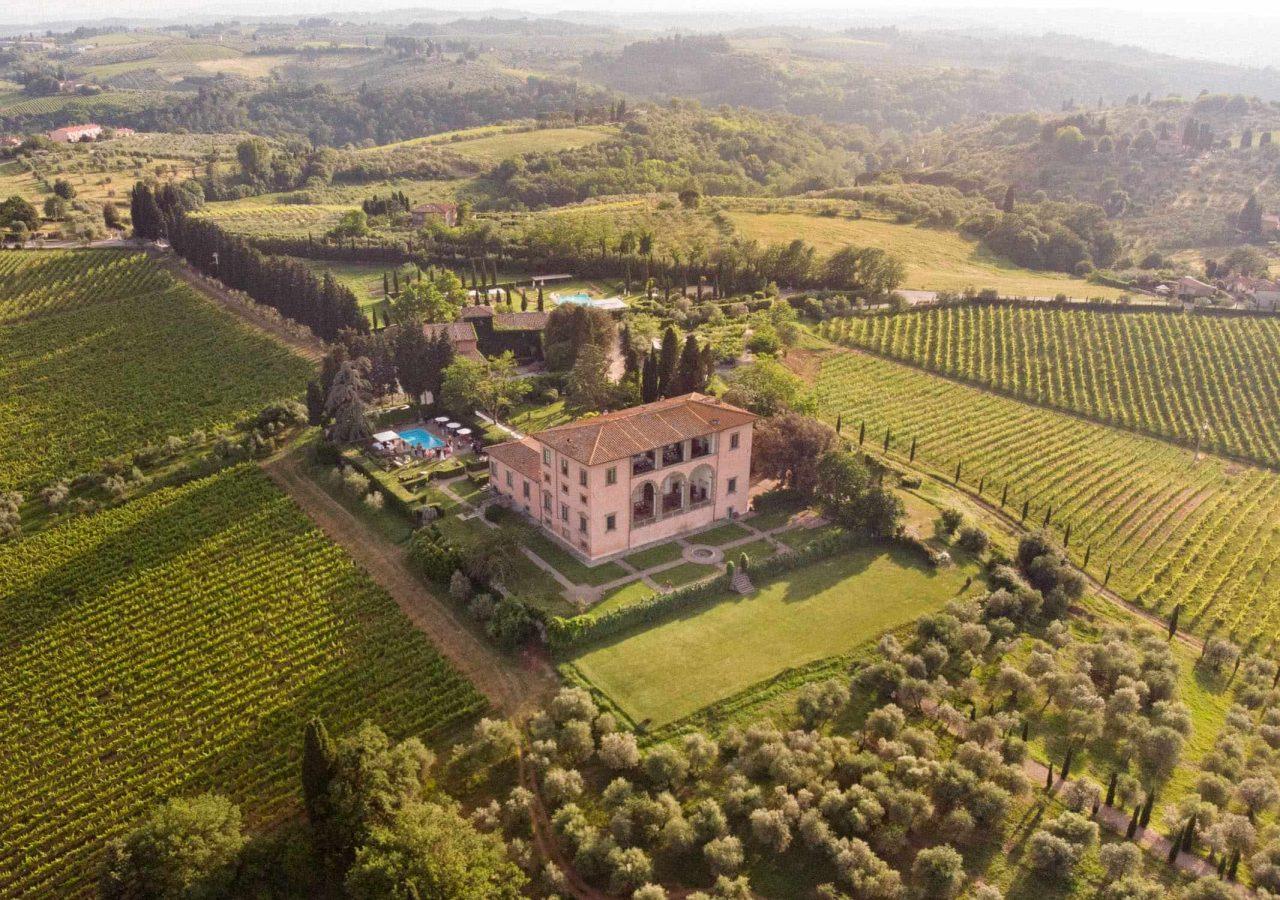 aerial view of villa mangiacane