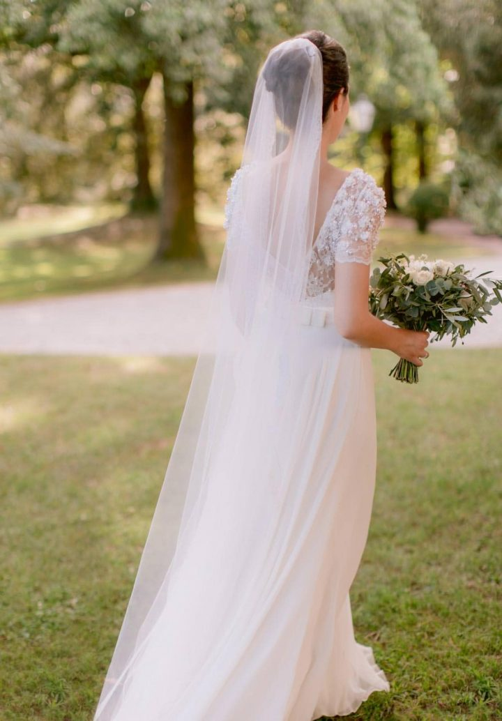 the bride in her Jenny Packham's bridal gown
