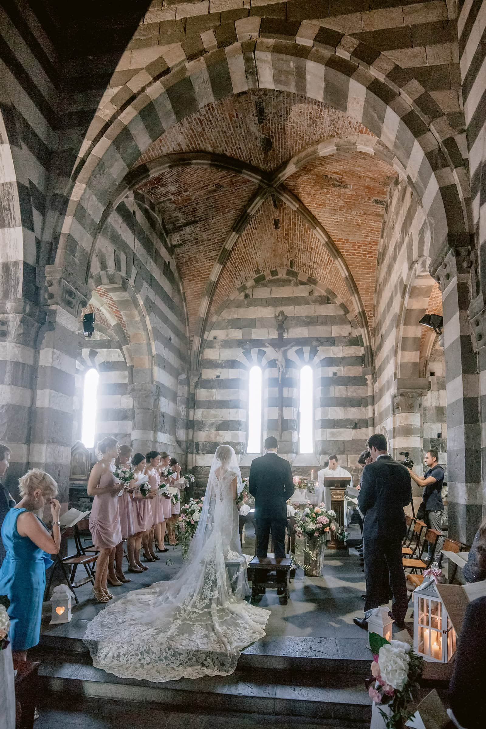 the altar of San Pietro church during a wedding ceremony
